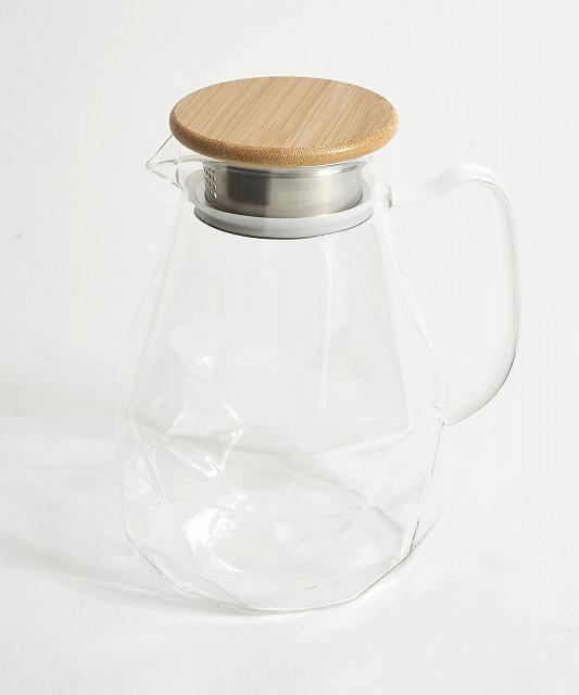 容量:1,750ml 材質: 本体:耐熱ガラス (蓋)竹・ステンレス 使用区分:熱湯·電子レンジ用 耐熱温度差:120℃
